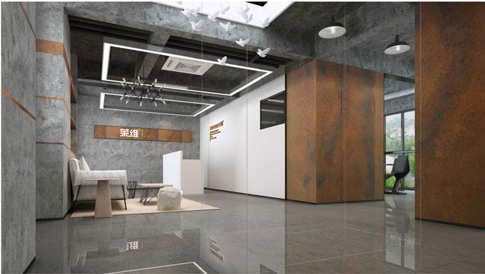 1500平方躍層辦公室前臺設計方案效果圖
