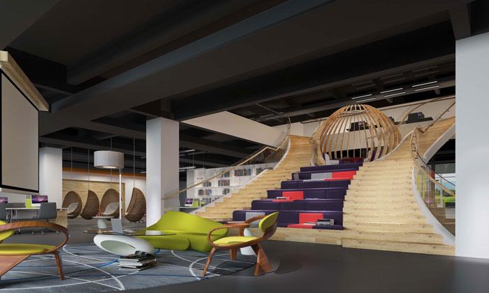 1800平方大型創意辦公室休息區域裝修設計案例效果圖
