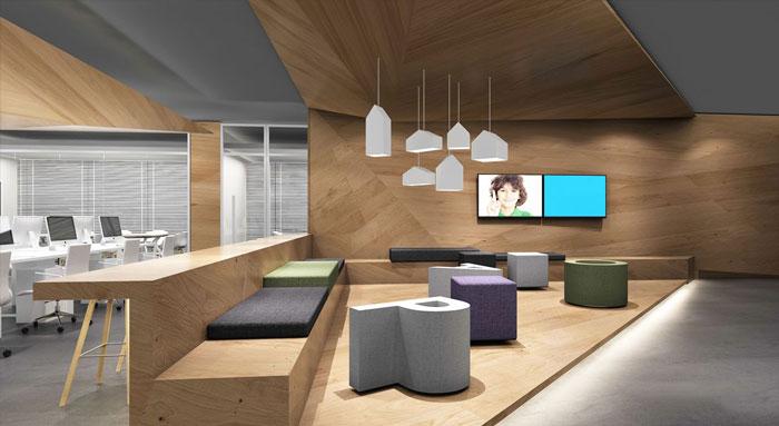 320平方小型办公室接待区域装修设计案例效果图
