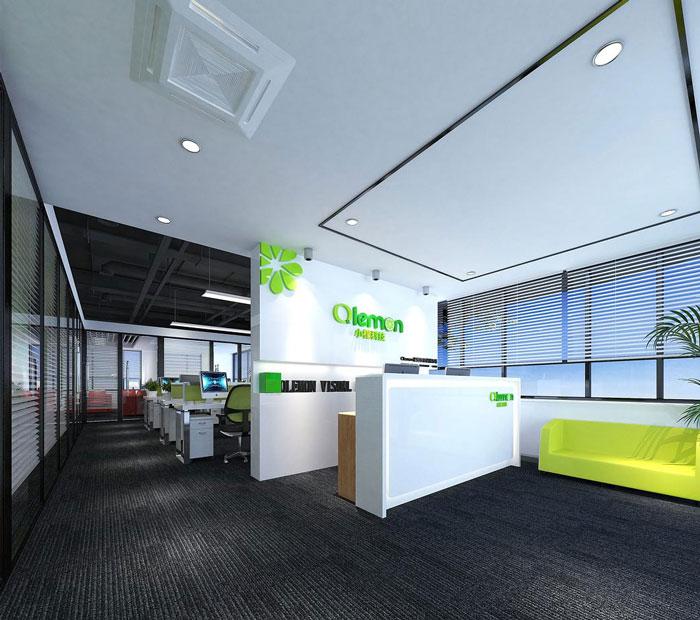 科技公司办公室前台软装设计效果图