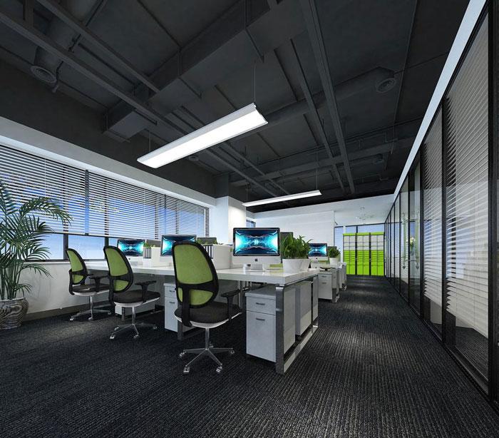 科技公司办公室办公区域软装设计效果图