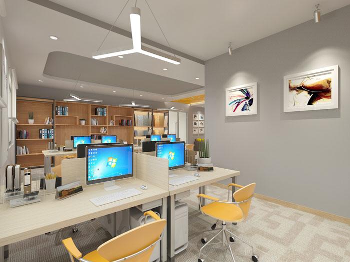 420平方装修公司办公室办公转弯区域软装设计效果图
