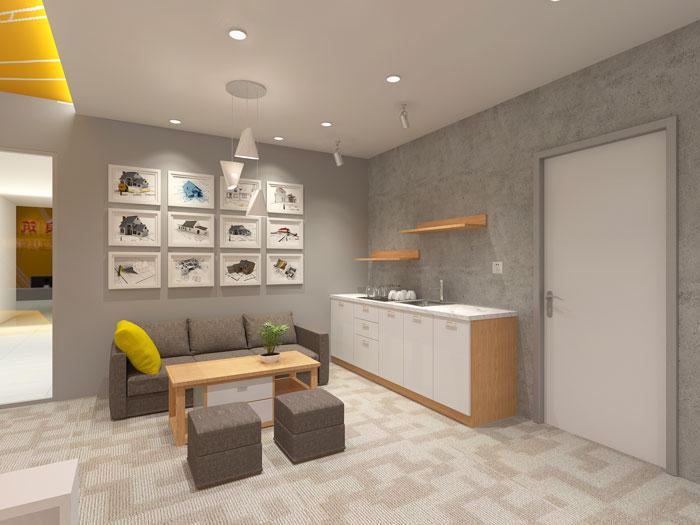 420平方装修公司办公室茶水间软装设计效果图