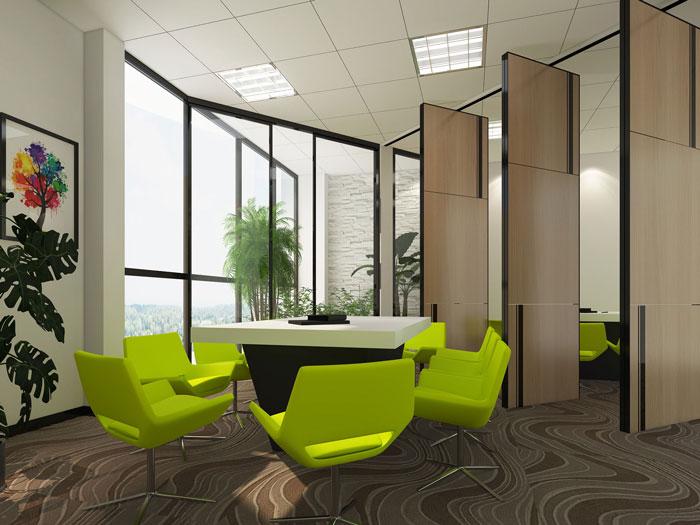600平方乳业公司办公室洽谈室软装设计效果图