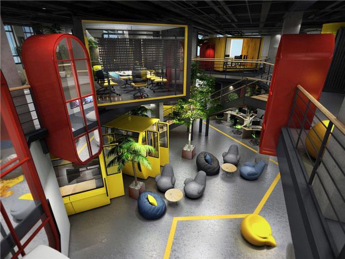 1450平方辦公室俯視軟裝設計方案效果圖
