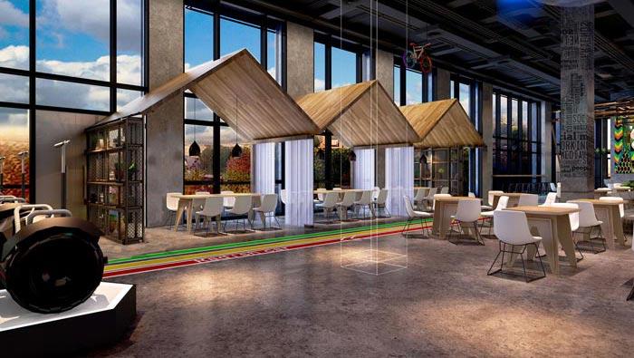 2200平方厂房办公室大厅装修设计案例效果图