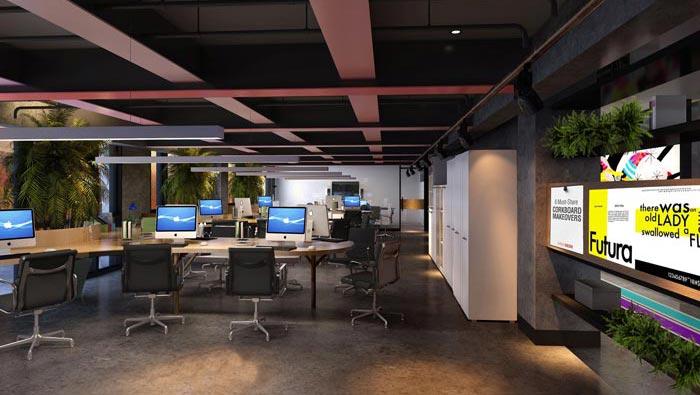 2200平方厂房办公室办公区域装修设计案例效果图