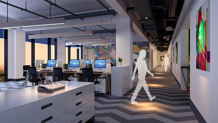 2200平方厂房办公室办公区域过道装修设计案例效果图