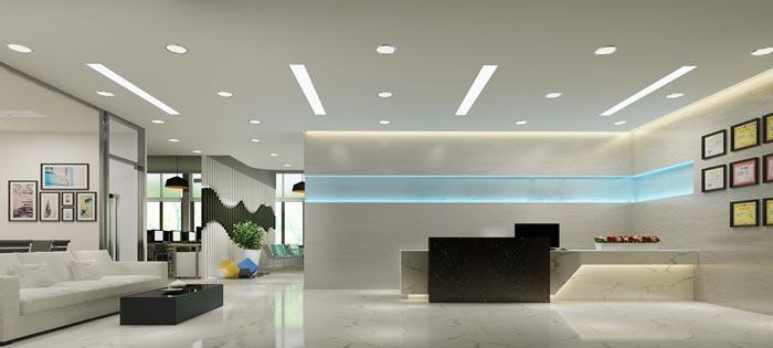 600平方培训机构办公室前台装修设计案例效果图