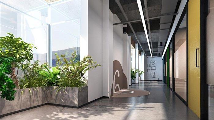 1250平方工业风办公室过道装修设计案例效果图