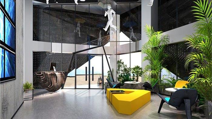 1250平方工业风办公室前台装修设计案例效果图