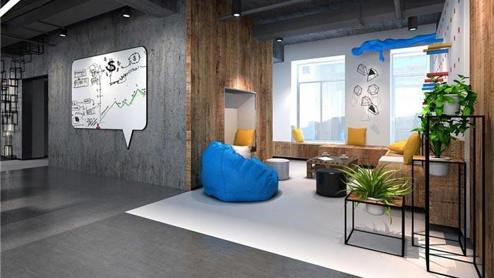 1250平方工业风办公室休息区域装修设计案例效果图