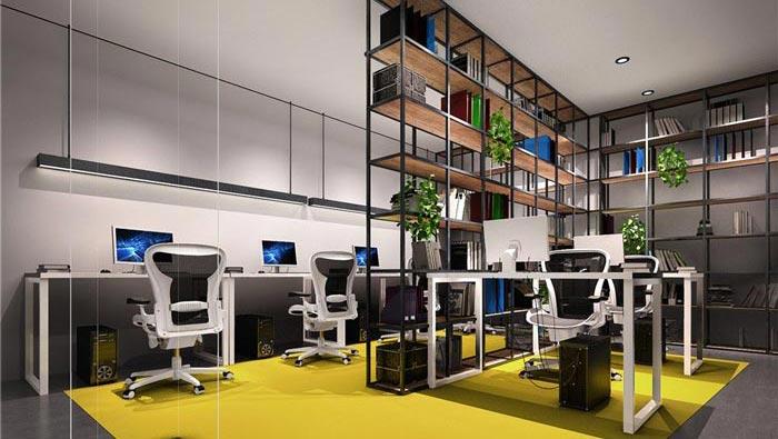 1250平方工业风办公室办公区域装修设计案例效果图