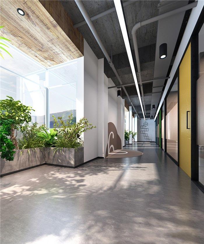 办公区域的设计,设计师在设计的时候,对空间采用一分为合的设计手法,看似简单的空间实则被设计师大刀阔斧的分为3个区域,其一为联合办公、其二为独立办公、其三为摆放展示区域,三位一体合成一个整个的空间。