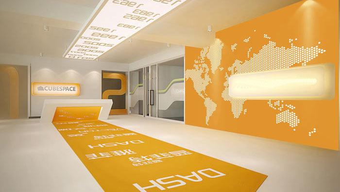 办公家具厂房办公室前台装修设计案例效果图