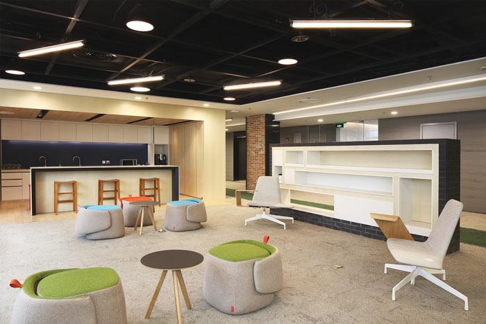 1450平方工业风办公室茶水间装修设计案例效果图