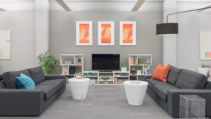 用户体验设计公司办公室休息区域装修设计案例效果图