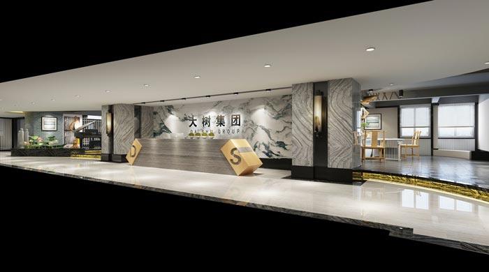 新中式禅意办公室前台装修设计案例效果图