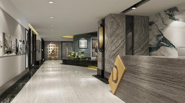 新中式禅意办公室过道装修设计案例效果图