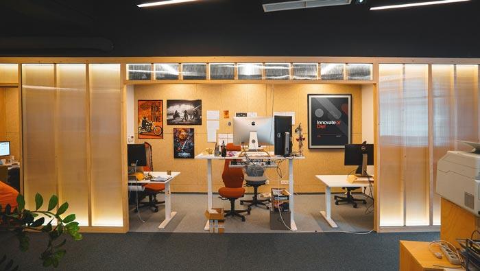 环保服装设计图_小型创意办公室装修设计案例效果图_岚禾办公空间设计