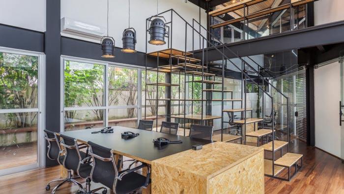 loft风格电影公司办公室会议室装修设计案例效果图
