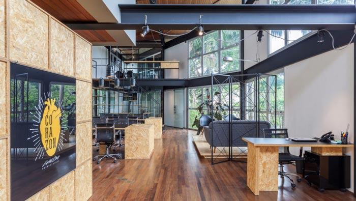 loft风格电影公司办公室动线装修设计案例效果图