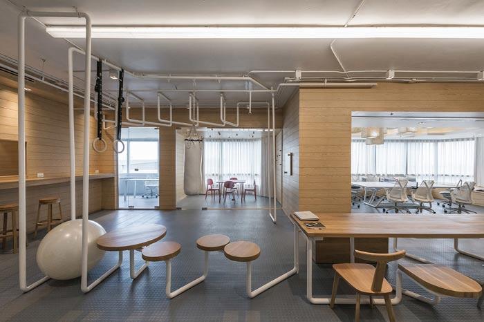 IT创业公司办公室休息区装修设计案例效果图