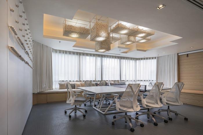 IT创业公司办公室会议休息区装修设计案例效果图