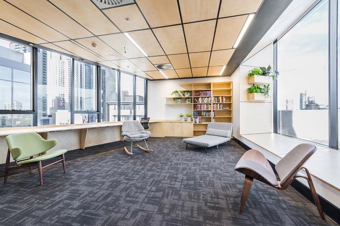 节能公司办公室洽谈区装修设计案例效果图