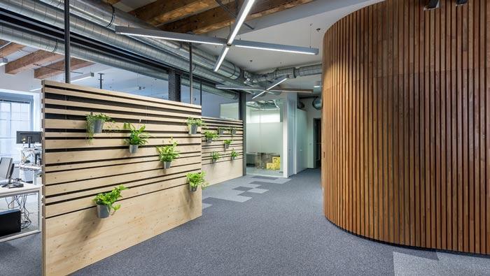 节能技术公司办公室动线装修设计案例效果图