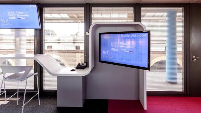 环境监测公司办公室显示器装修设计案例效果图