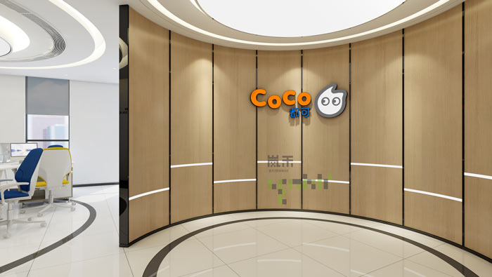 时尚小型办公室前台装修效果图