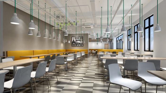 通信科技公司办公室餐厅装修设计案例效果图