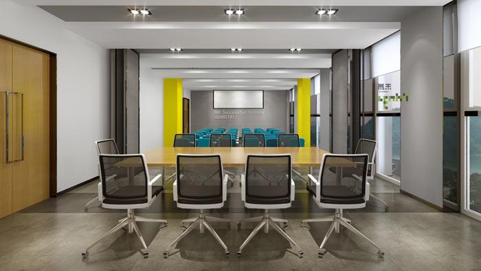 通信科技公司办公室培训室装修设计案例效果图