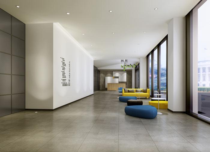 通信科技公司办公室大厅装修设计案例效果图