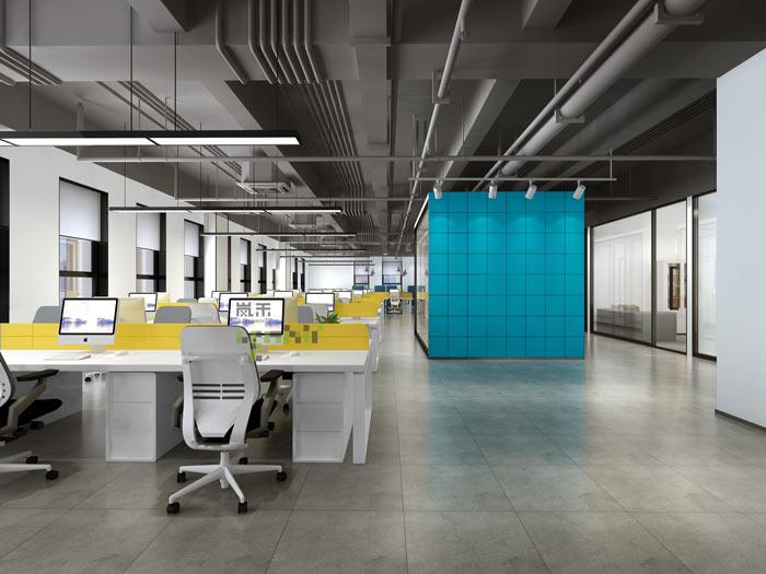 通信科技公司办公室办公区域装修设计案例效果图