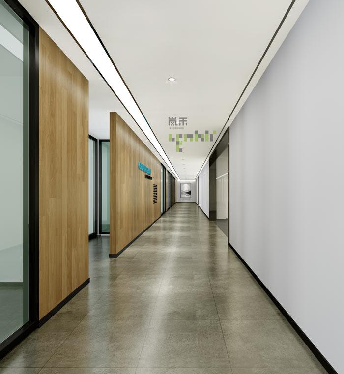 通信科技公司办公室走廊装修设计效果图