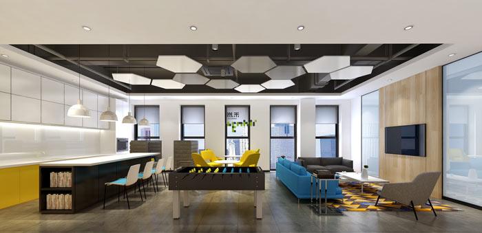 通信科技公司办公室茶水间装修设计案例效果图