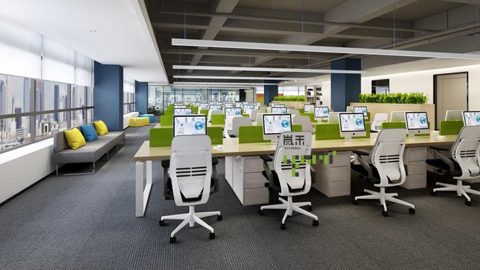 网络科技公司办公室办公区装修设计效果图