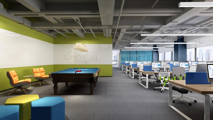 网络科技公司办公室休息区装修设计效果图