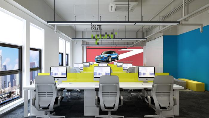 汽车超人公司办公室20楼开敞办公装修设计效果图