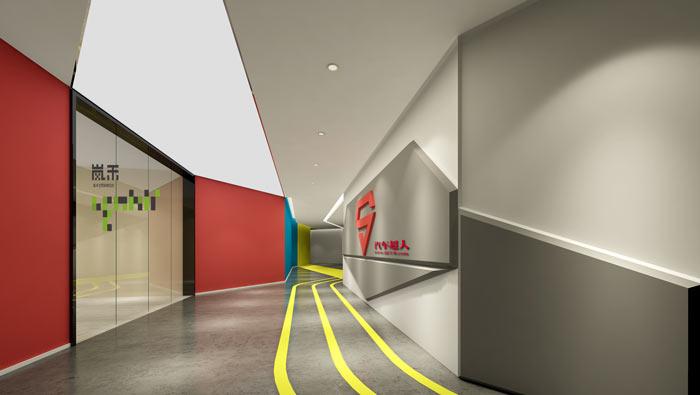 汽车超人公司办公室19楼前台装修设计效果图