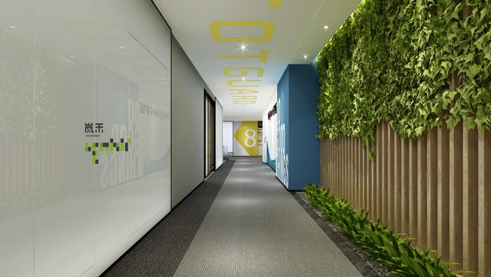 创新科技公司办公室过道装修设计效果图