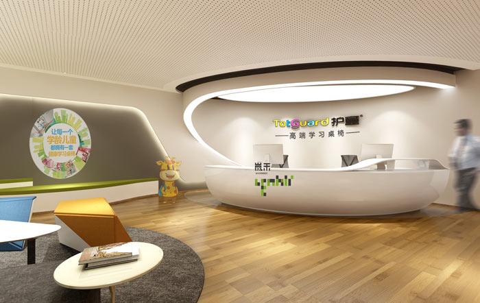 创新科技公司办公室前台装修设计效果图