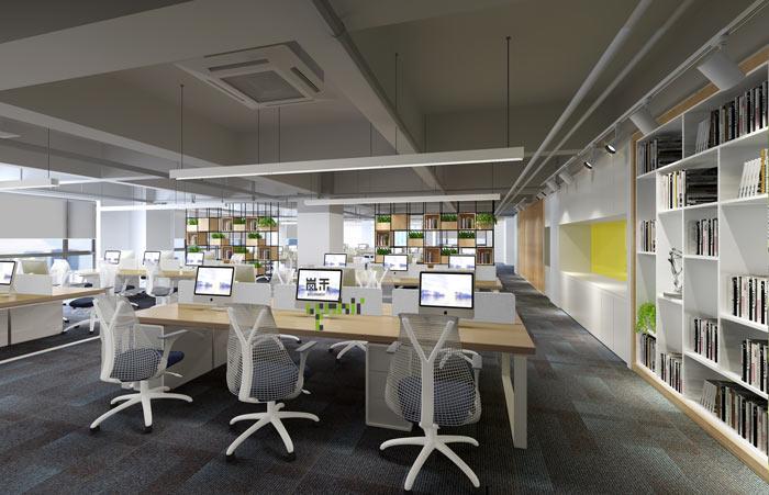 创新科技公司办公室办公区装修设计效果图
