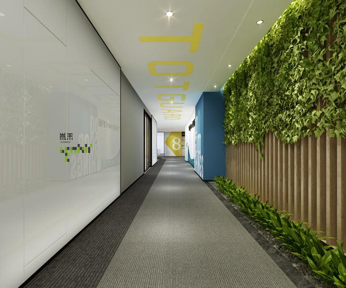 创新科技公司办公室员工过道装修设计效果图