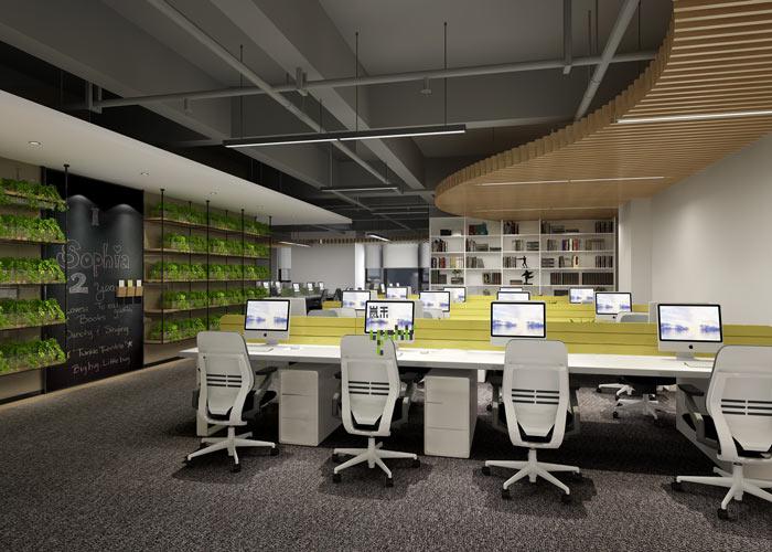 腾讯大浙网办公室办公区域装修设计案例效果图