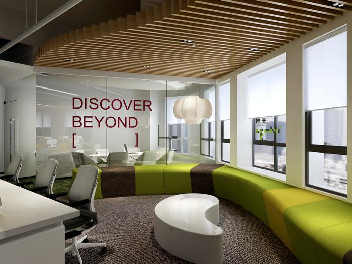 腾讯大浙网办公室休息区域装修设计案例效果图