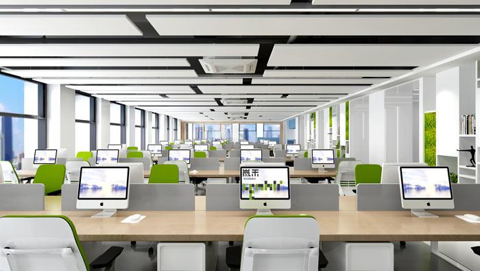 信息科技公司办公室办公区装修设计效果图