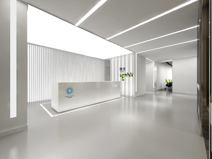 信息科技公司办公室前台装修设计效果图